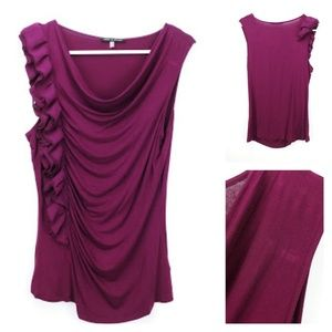 Cable and Gauge ruffle sleeveless top